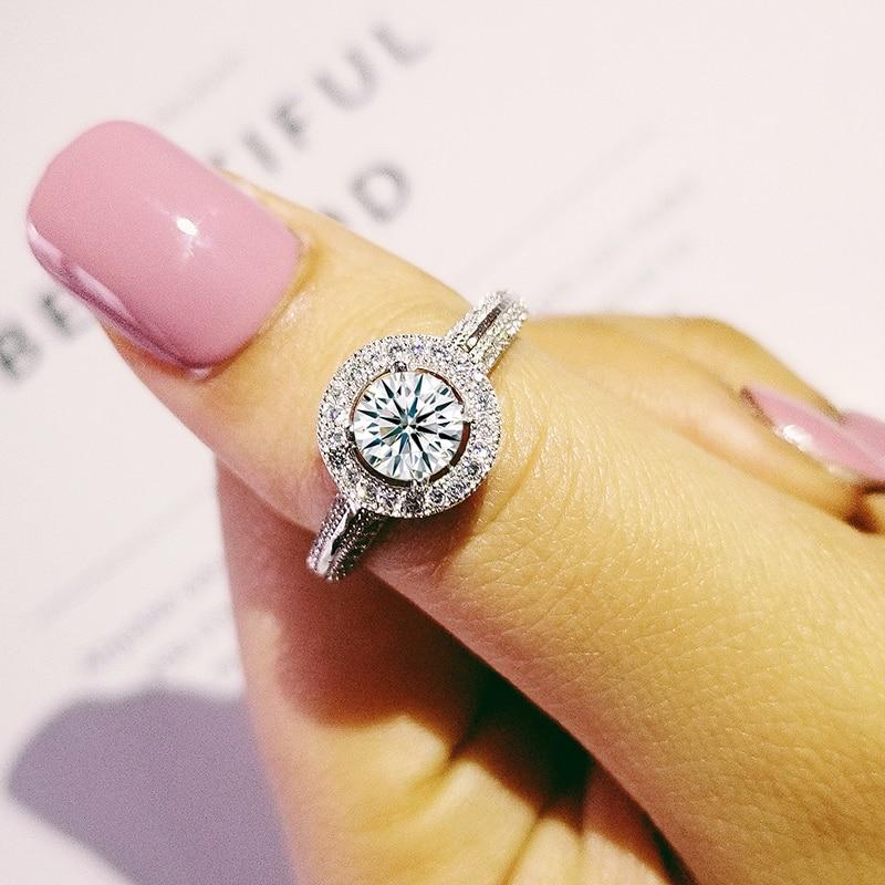 módní originální 925 mincovní stříbrné zásnubní prsteny pro ženy Svatební vánoční párty dárkové prstové šperky R220