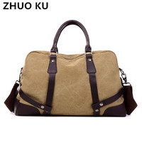 ZHUOKU2017 Men S Vintage Canvas Travel Bag Male Military Carry On Luggage Duffel Bag Large Capacity