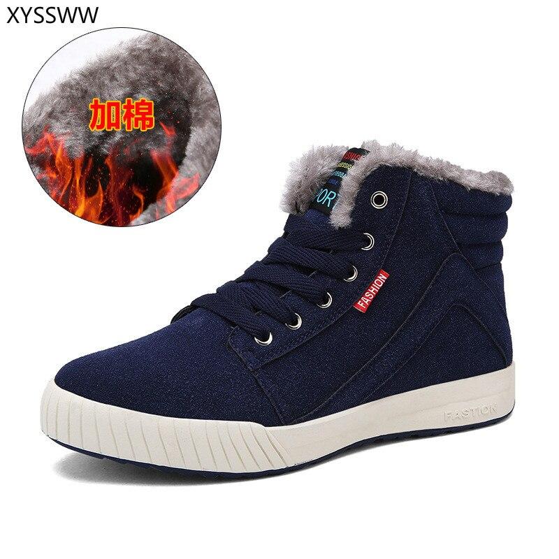 2018 Große Größe Neue Männer Stiefel Für Männer Winter Schnee Stiefel Warme Pelz & Plüsch Lace Up High Top Mode Männer Schuhe Turnschuhe Stiefel 39-45