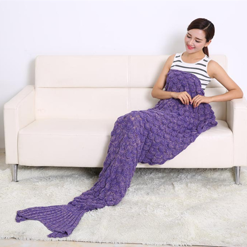2016 Fashion Handmade Knitted Mermaid Tail Blanket Keep Warm crochet mermaid blanket adult throw bed Wrap sleeping bag 90*195cm