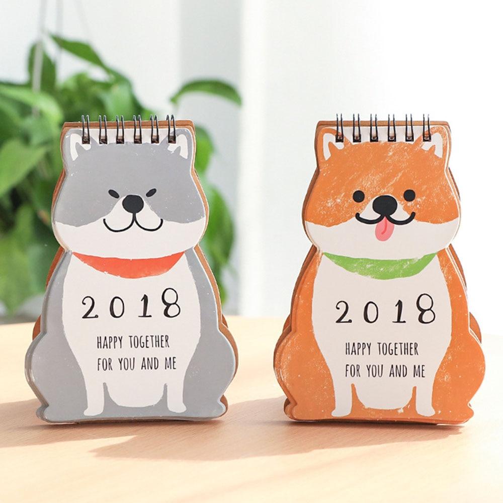 1pc Cute 2018 Desktop Calendar Cartoon Dog Shape Creative Diy Calendars Plan Notebook New Year School Home Office Supplies Calendars, Planners & Cards