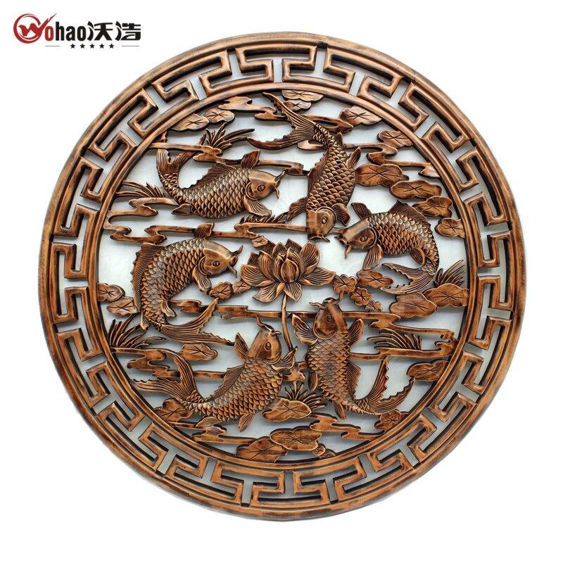 Dongyang резьба по дереву китайский стиль круг басы рыбы стены вырез резной узор цепь 1 мюоны 1 м
