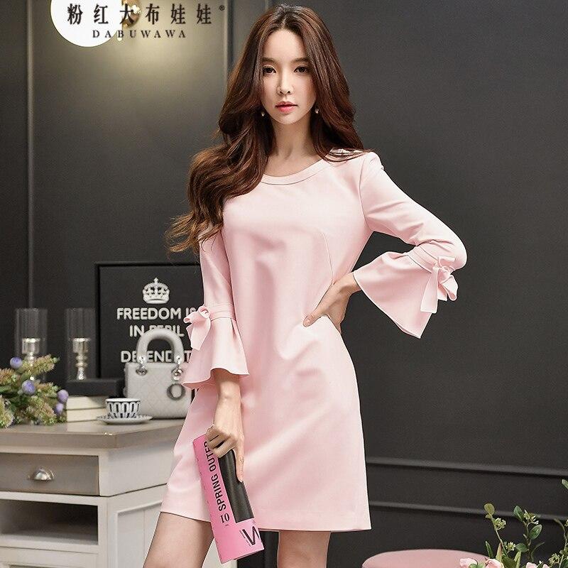 original 2018 brand new vestidos elegant flare sleeve light pink solid color bowknot dress women wholesale jenni new pink solid ruffled chemise l $39 5 dbfl