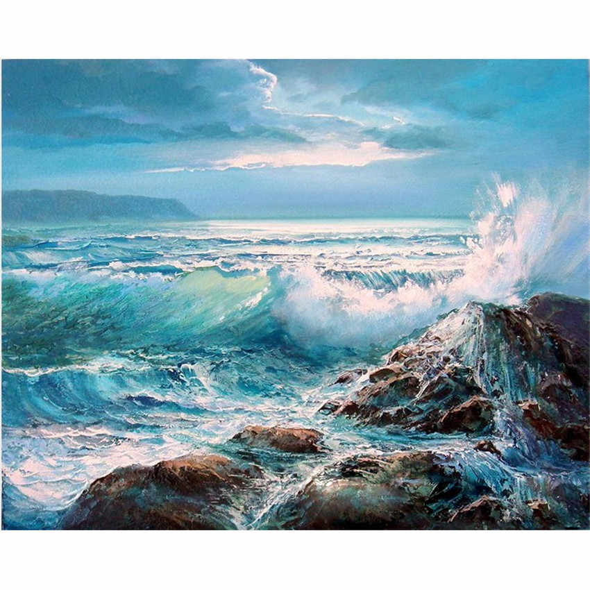 DIY Digital Painting By Numbers Package TheBlue waves oil painting mural Kits Coloring Wall Art Picture Gift frameless