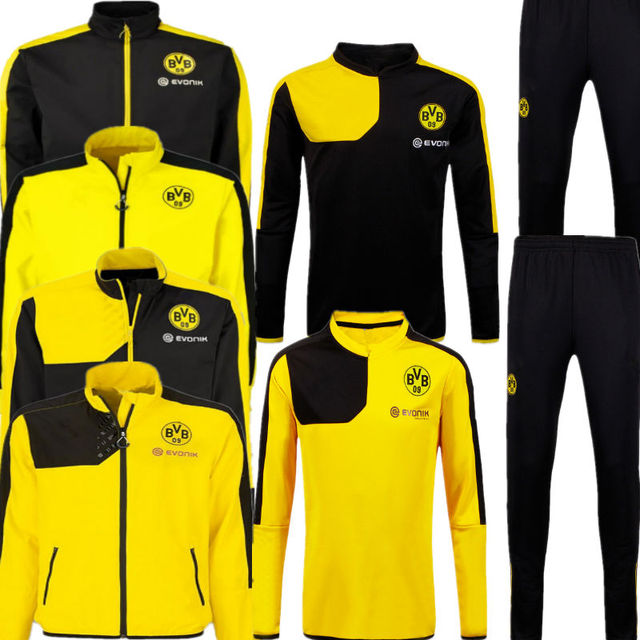 7ff95d9ccd73 2015 Borussia Dortmund Training Jacket 15 16 Borussia Dortmund Tracksuit  BVB Yellow Black Sports Sweater With Long Pants Sets 16