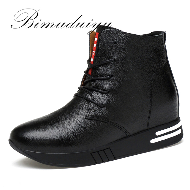 BIMUDUIYU Vintage Style Genuine Leather Warm Ankle Boots Woman Winter Fashion Martin Boot Inside Height Increase Handmade Shoes