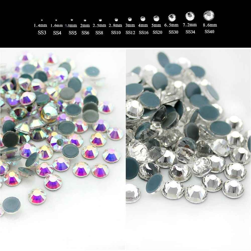 AAAA+ SS6 SS10 SS16 SS20 SS30 SS34 SS40 Crystal AB Clear DMC Hotfix Rhinestones Iron on flatback glass for Dress Nail Clothing