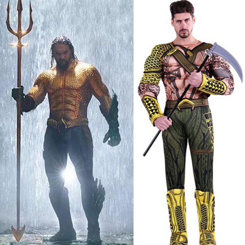 42089fb40b61 Men Aquaman Cosplays Adult Halloween Arthur Curry Movie Costume Carnival  Christmas Purim parade Masquerade Role play