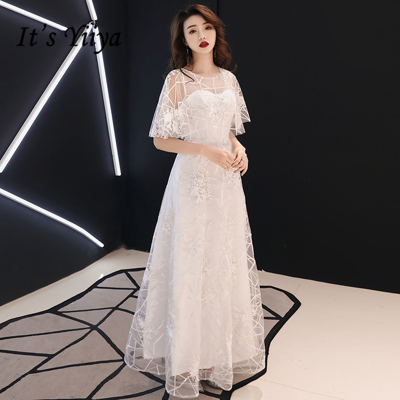 It's YiiYa Evening Dresses Elegant O-neck Embroidery Wedding Formal Dress Short-sleeves Lace White Long A-line Party Gown E358