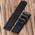 Fashion Black Canvas Watch Band Strap 20/22mm Men Male with Gray Rings BD0137