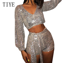 TIYE Two Pieces Sets Sequined Jumpsuits Women Long Sleeve Sparkly Bodycon Playsuits Sexy Rompers Glitter Club Party Overalls huti casual two pieces sets sweater knitted jumpsuits for women autumn womens long sleeve bodycon sexy playsuits solid overalls