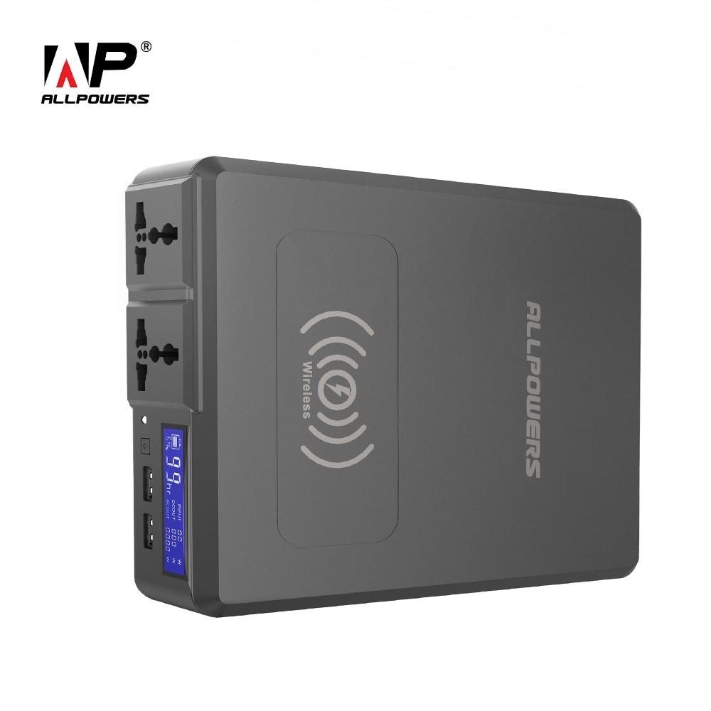 ALLPOWERS 154W Banco de Potência 41600mAh Super Alta Capacidade Carregador de Bateria Externo Portátil Gerador com o AC/DC/ USB/Sem Fio etc.