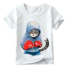 Детская супер крутая футболка с принтом «боксерская кошка» летние топы с короткими рукавами для маленьких мальчиков и девочек, Отличная повседневная одежда для детей ooo5043