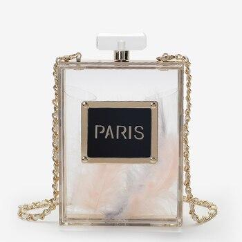 ¡Producto en oferta! Bolsos de mano de acrílico con Perfume para mujer, bolsos de mano de noche, carteras de mano y artículos de aseo para fiestas de París