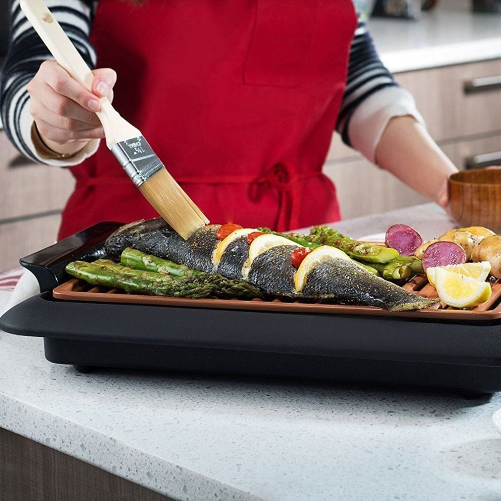 Electrothermal barbecue plate Fast BBQ Smokeless Grill With Temperature Dial Heated Grilling Grate Made of Ti cerama
