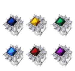 Изумрудно-зеленый Ретро CZ кольца фианит Зеленый Кристалл Обручение кольцо для Для женщин девочек вечерние подарок gemstone 925 нефритовое
