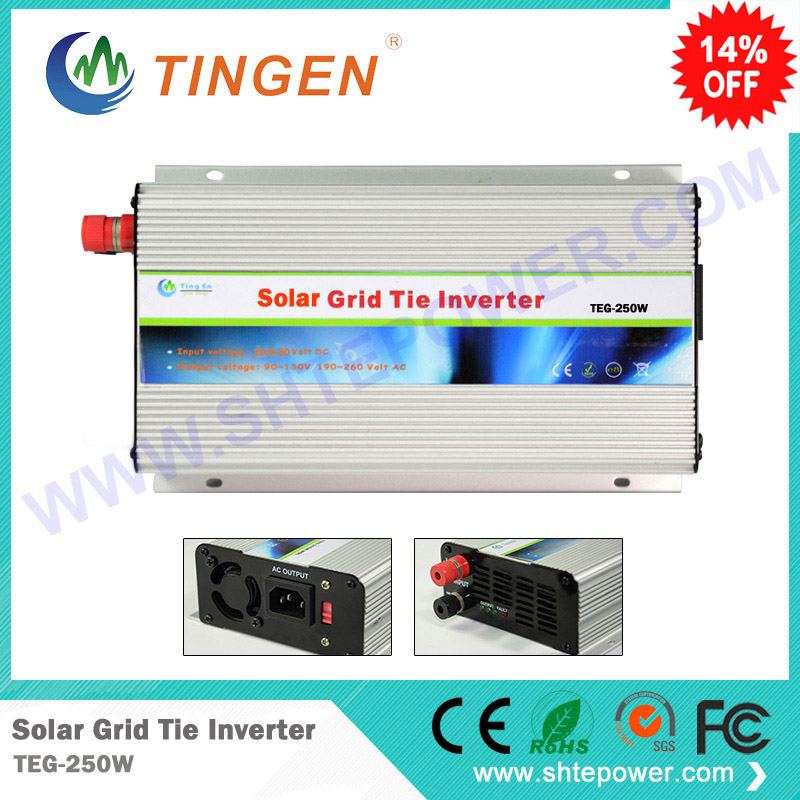 free shipping micro mini solar inverter 250w dc 10.8-30v input to adujstable voltage 90-130v or 190-260v 300w solar grid on tie inverter dc 10 8 30v input to two voltage ac output 90 130v 190 260v choice