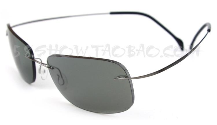 Brand Ultra-light Pure Titanium Rimless Polarized Sunglasses Men Women Large Size Mirror Box