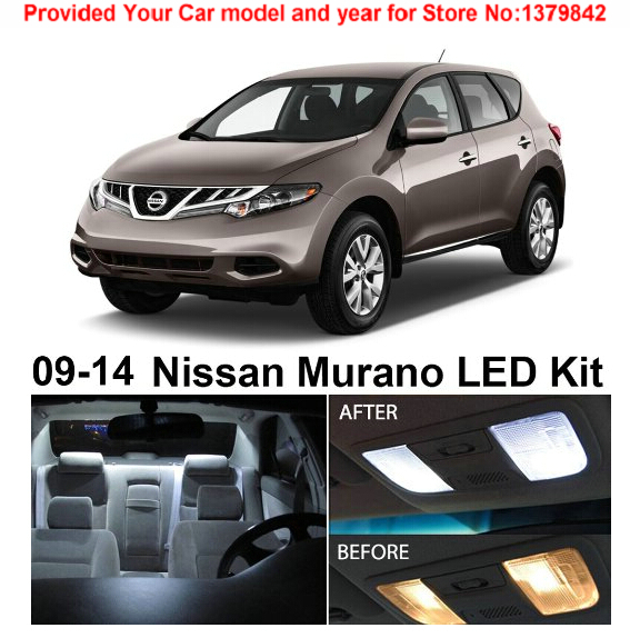 Free Shipping 10Pcs/Lot car-styling Xenon White Package Kit LED Interior Lights For Nissan Murano 2009-2014