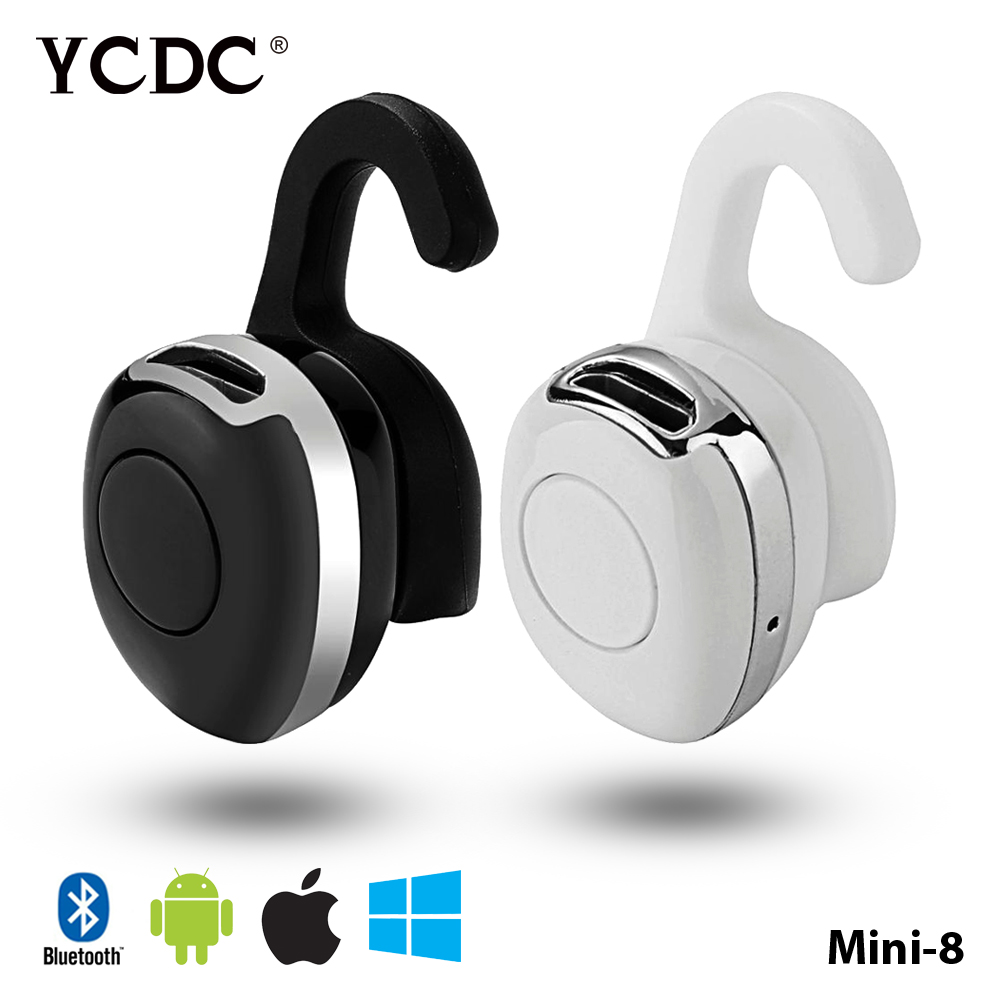 YCDC Mini8 Wireless Stereo Headset Bt Bluetooth V4.1 Earphone Cute Headphones Elephone Ear Hook For Smartphone Girls Man Running 2017 scomas i7 mini bluetooth earbud wireless invisible headphones headset with mic stereo bluetooth earphone for iphone android
