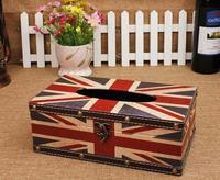 European Union Jack American leather waterproof tissue box pumping creative wooden napkin box cardboard home