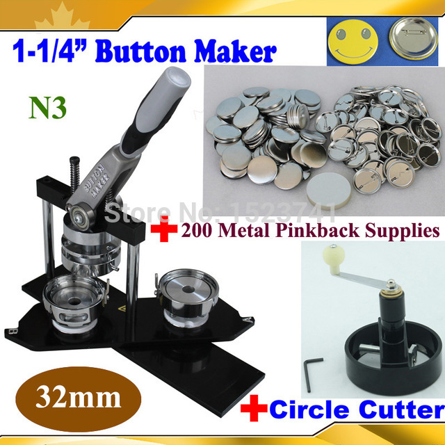 "Pro N3 Worldwide Class 1-1/4"" 32mm Badge Button Maker Machine +Metal Circle Cutter+200 Sets Metal Pinback Supply"