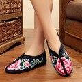 Новый осень зима вышивка обувь старого Пекина женщина хлопок цветочные холст мягкий плоский каблук случайные удобные теплые обувь одного
