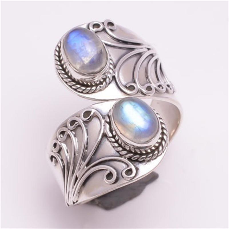 S925 Silver Color Moonstone Ring for women Hip Hop Anillos Gemstone Bizuteria for Engagement Pure Moonstone Jewelry Rings box