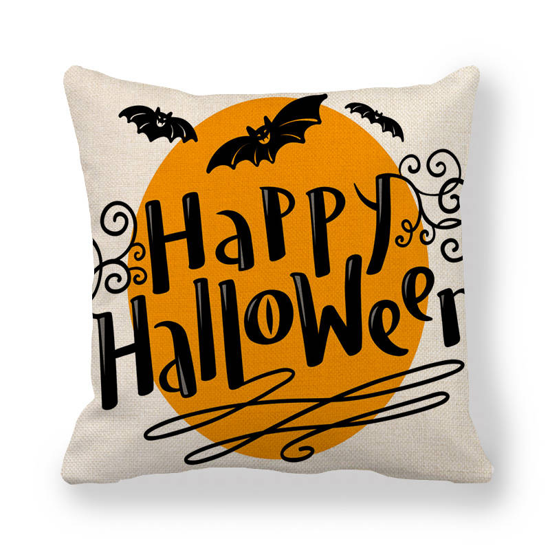 45cm 45cm Cushion cover Halloween Castle linen cotton pillow case sofa and Home decorative pillow cover in Cushion Cover from Home Garden
