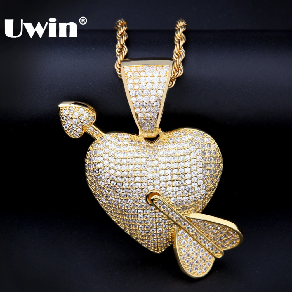 ef20eb660fd Uwin Pendant Arrow Necklace Tennis Chains Iced Out Hiphop Jewelry Gold  Silver-Color Cubic Zirconia