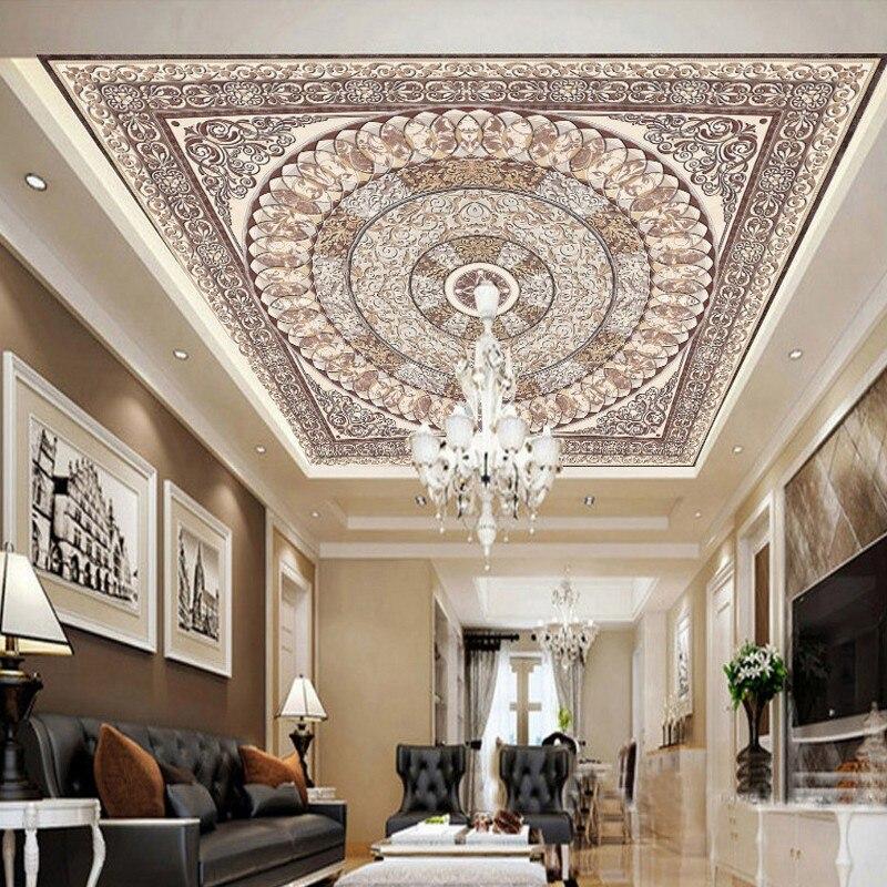 Пользовательские фото обои европейских классической схеме небо потолок панно гостиная от ...