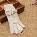 Женщины Сплошной цвет шерсти перчатки femal Корейский сенсорный экран перчатки зима шерсти вязание толстые теплые шерсть пять пальцев перчатки