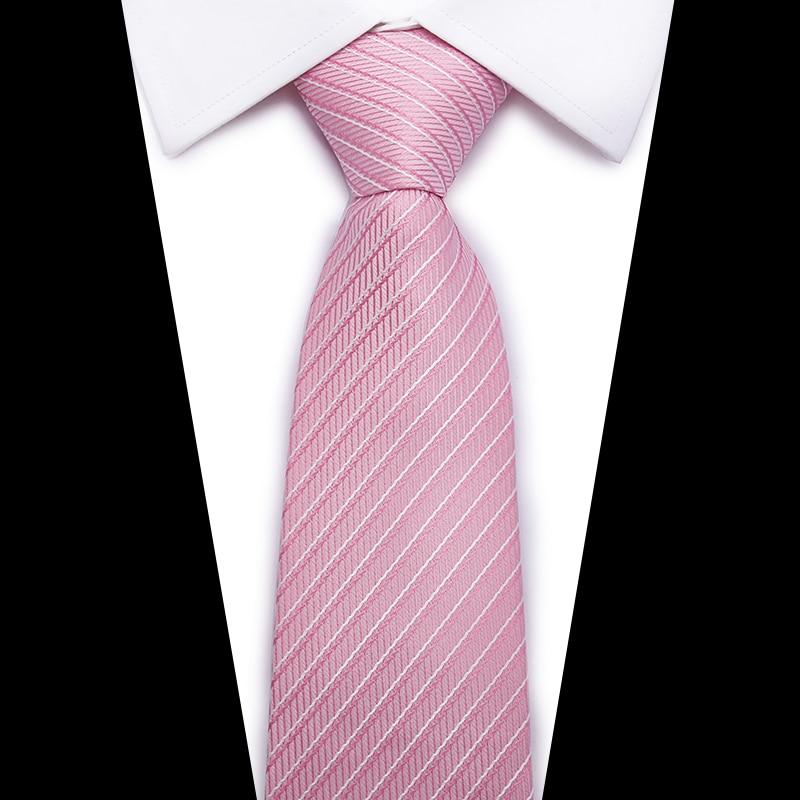 Marca de moda Rosa lazo rayado 8 cm ancho formal Plaid corbatas para hombres  negocios causal party barato masculino gravatas venta al por mayor 6e76141707b1
