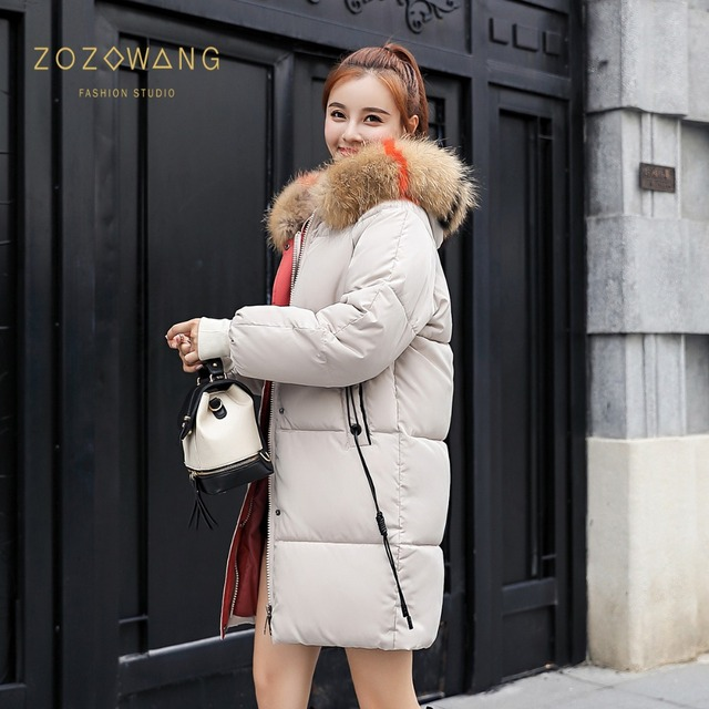 zozowang 2018 New yellow Winter Jacket Women Parka Fake Fur Collar Down Wadded Female outerwear Cotton-Padded Jackets Women Coat