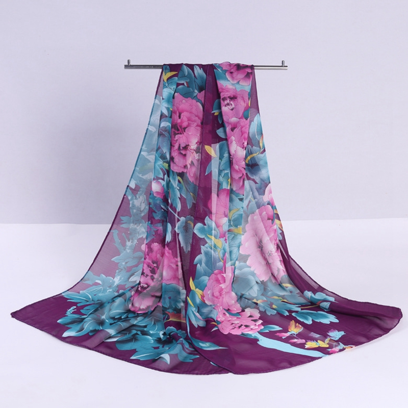 LARRIVED New Arrival 2019 Spring And Autumn Chiffon Women Scarf Polyester Geometric Pattern Design Long Soft Silk Shawl in Women 39 s Scarves from Apparel Accessories