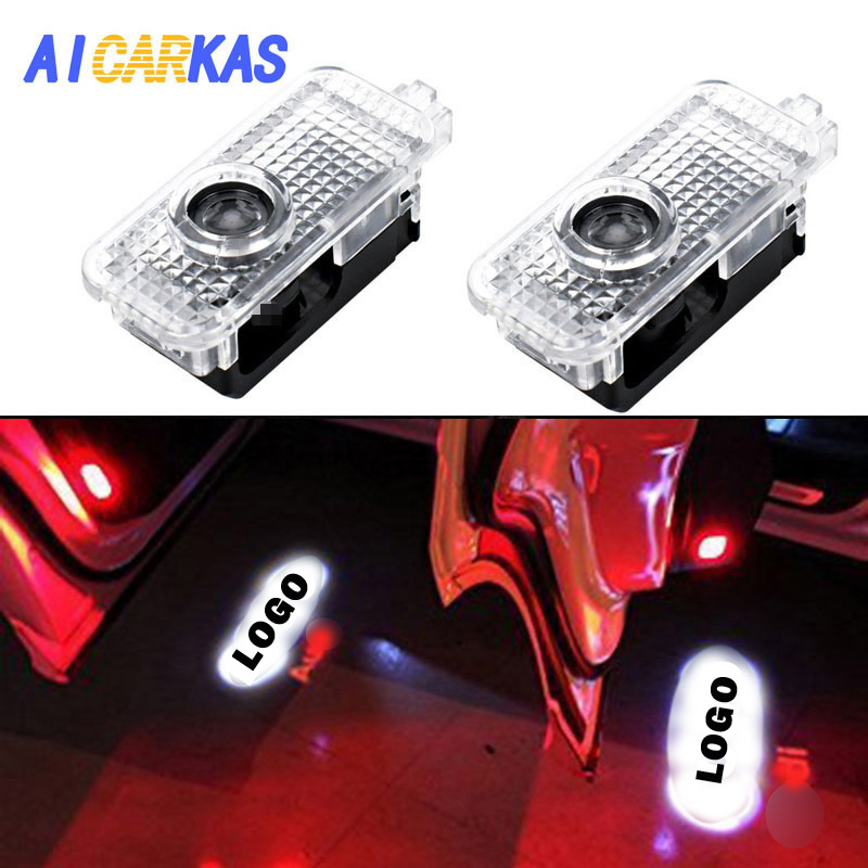 AICARKAS 2 PCS Car Door LED Logo Light Welcome Lamp for Audi Q7 A3 Q3 A6L A7 A8 Projector laser Welcome Logo Door light for Audi sunset horseman gobo door led projector light welcome lamp cree q5 ultra bright puddle light for lincoln corvette vw dodge 1527