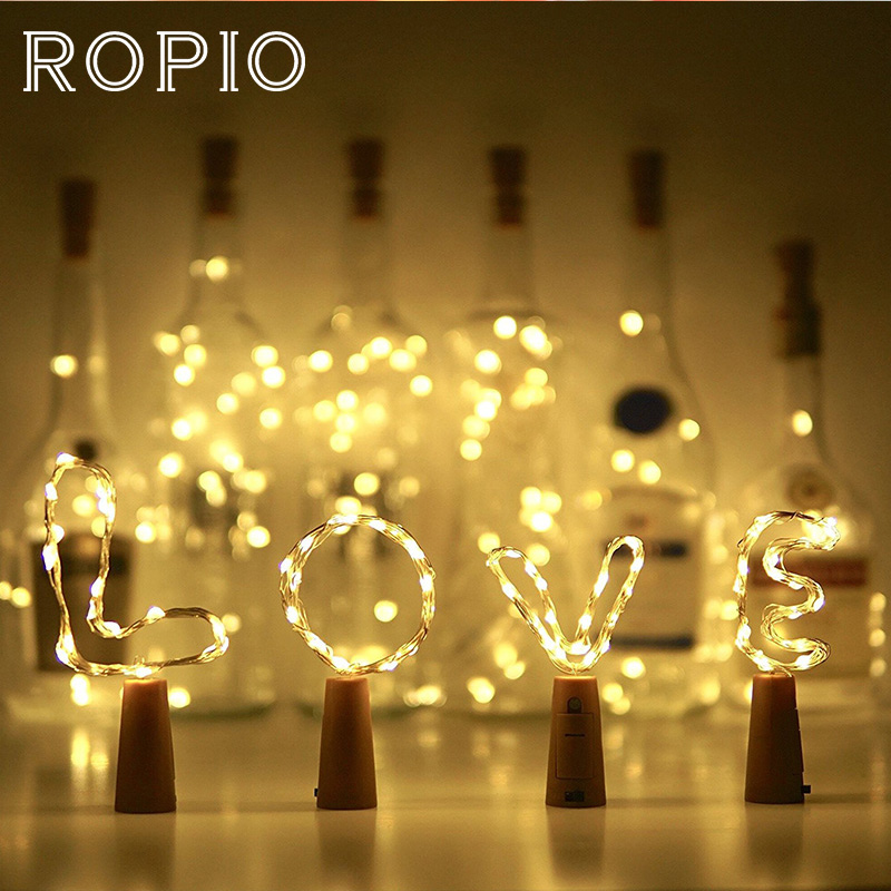 ROPIO 20 30 LEDs String Light DIY Wine Bottle Stopper Copper Wire Fairy Lights For Wedding Christmas Holiday Party Decoration