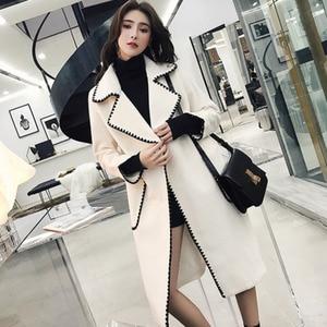Image 3 - LANMREM Solid Color Wavy Pattern Large Pockets Belt Woolen Coat Casual Fashion Loose Plus Woman 2020 Autumn Winter New TC981