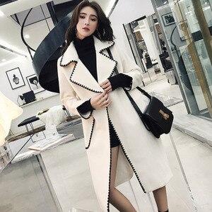 Image 3 - Lanmrem Ondulate di Colore Solido Modello di Grandi Tasche Cintura di Lana Del Cappotto Casual di Modo Si Slaccia Più Donna 2020 Autunno Inverno Nuovo TC981