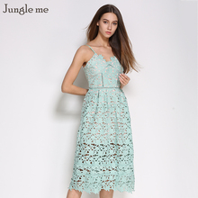 [Jungle me] 2017 New Vintage Sexy Lace Long Dress Woman Party Wedding Beach Dress forrado Clothing 8 Colors vestidos