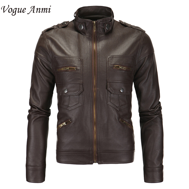 2016 Hot-selling three-dimensional pockets Mens leather jacket slim fit leather coat men Size M~2XL