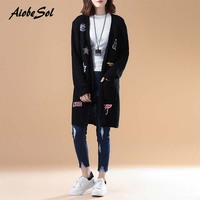 2017 Women Vintage Long Knitted Cardigan Autumn Winter Korean Style Loose Solid Color Patch Big Pockets
