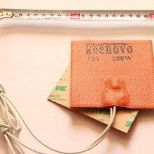 100X100 мм 100W@ 12 В, w/80 ° C термостат, Keenovo универсальный гибкая силиконовая Нагреватель мат облицовка площадка/коврик/настил/Накладка/двигателя элемента масляного поддона нагреватель
