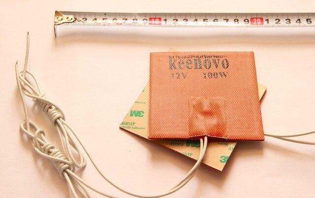 100X100mm 100W@12V, w/ 80 Deg C thermostat, Keenovo Universal Flexible Silicone Heater Mat/Pad/Element Engine Oil Pan Heater