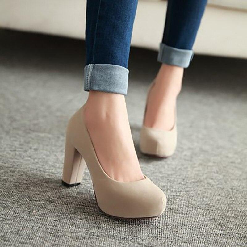 6caa563c11e Women Pumps Suede High Heels Platform Women Shoes Women Heels Ladies Shoes  Square Heel Sandals Block Heels Female Plus Size 43