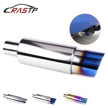 RASTP-Car Exhaust Tail Muffler Tip Pipe Fit for Modified Universal Stainless Steel Tail Pipe Exhaust System with logo RS-CR1002 rastp exhaust control valve set with vacuum actuator cutout 3 0 76mm pipe close style with wireless remote controller rs bov041