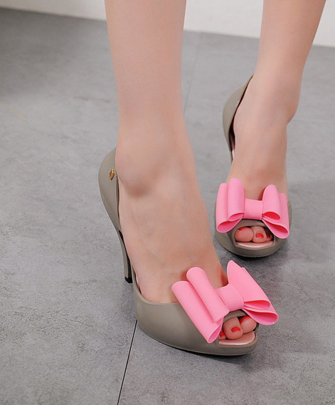 Fashion High Heel Sandals Lady with Bowtie Jelly Shoes open toe pumps