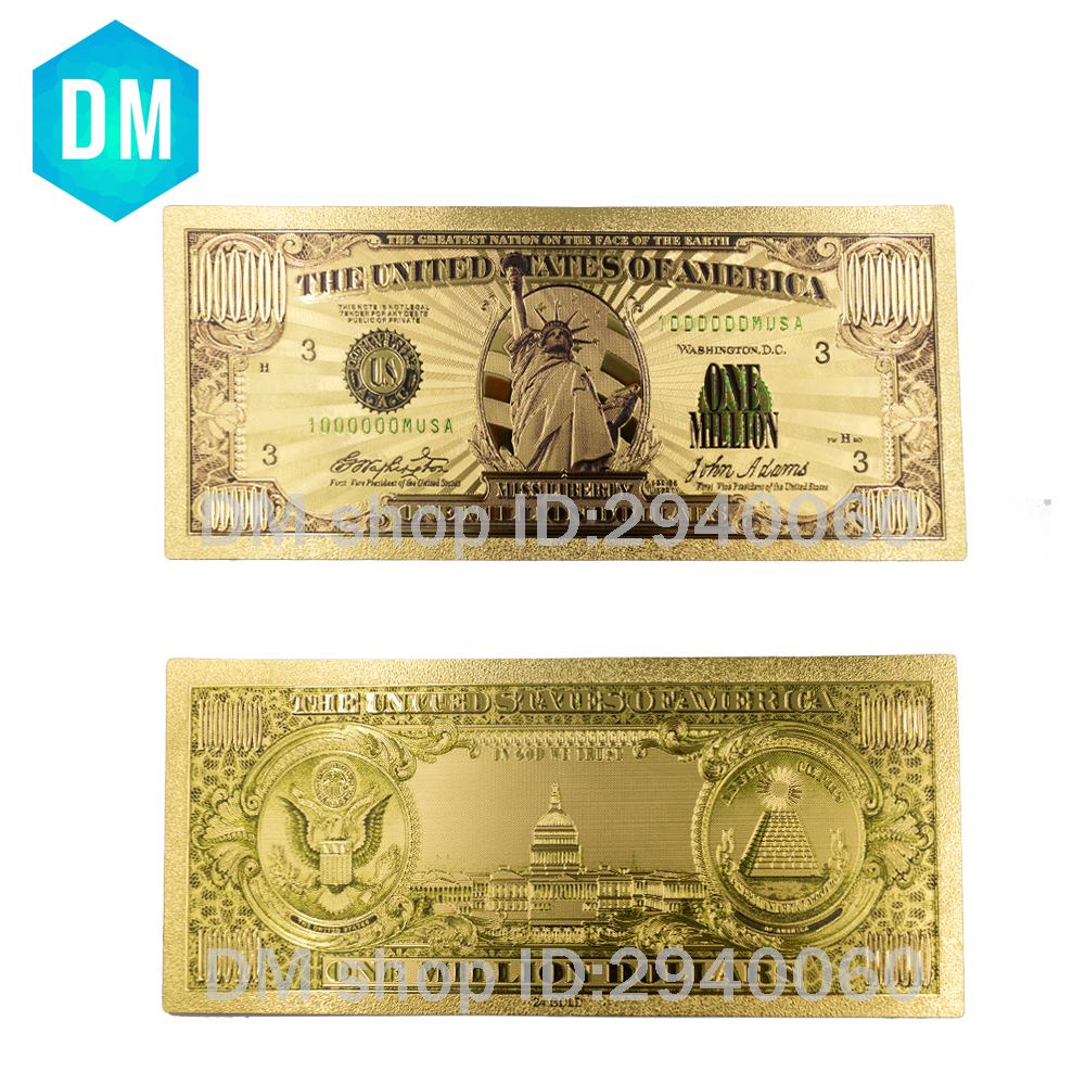 24k Gold Plated One Million Dollar Gold Banknote American Paper Money In Sleeve