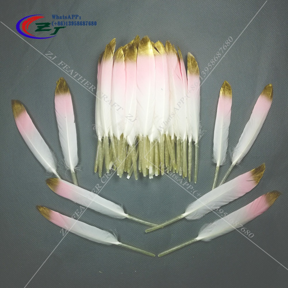 New Arrival 100Pcs DIY Natural Goose Feathers For Home Decor Earrings Jewelry Clothing Accessories White Pink with Gold Tips
