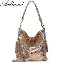 5f8550e19 Arliwwi Brand Designer New Real Leather Shiny Snake Pattern Embossed Female  Shoulder Bags High Quality Women